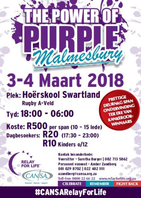 Cansa Relay For Life, Malmesbury 2018